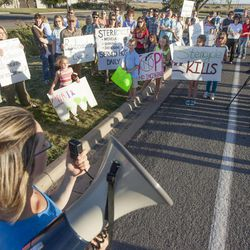 Alicia Connell speaks during a rally asking Utah Gov. Gary Herbert to shut down Stericycle's medical waste incinerator in North Salt Lake on Thursday, Sept. 25, 2014.