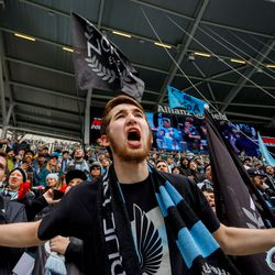 April 13, 2019 - Saint Paul, Minnesota, United States - Supporters cheer on the team during the Loon's inaugural match at Allianz Field. (Photo by Seth Steffenhagen/Steffenhagen Photography)