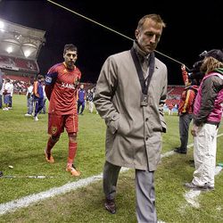 RSL Head Coach Jason Kreis and Javier Morales exit the field after a  1-0 loss to CF Monterrey in the CONCACAF Cup Championship at Rio Tinto Stadium in Sandy on  Wednesday, April 27, 2011.