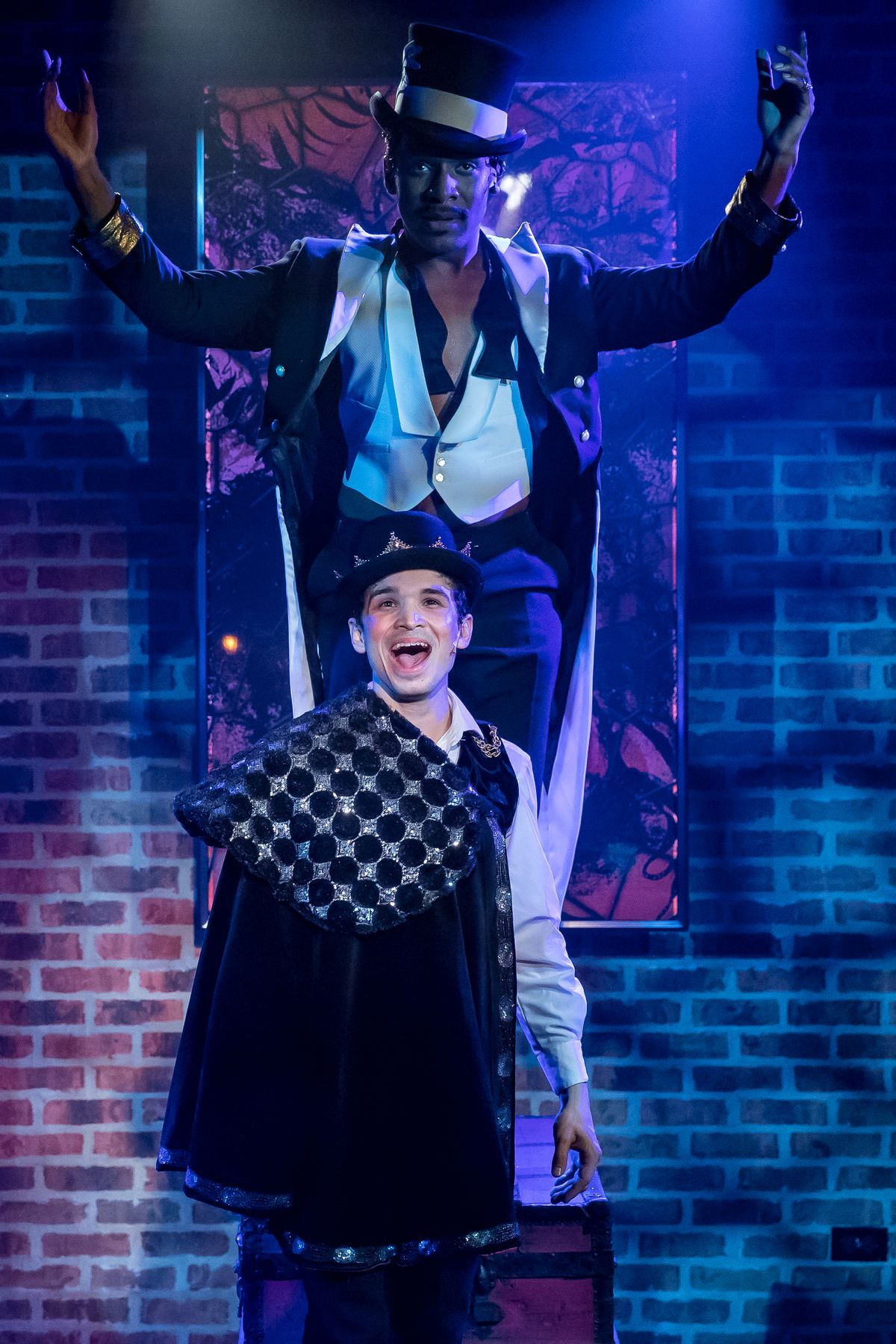 """Donterrio Johnson (top) and Koray Tarhan in a scene from """"Pippin"""" at Mercury Theater Chicago. 