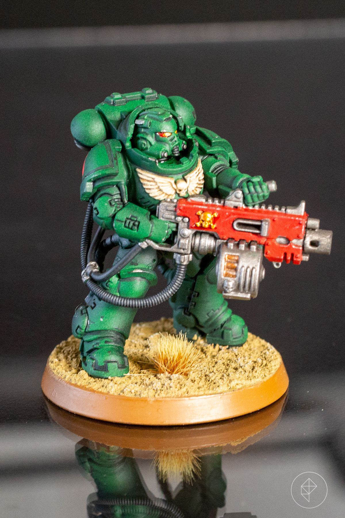 A Space Marine Heavy Intercessor from the Kill Team boxed set, painted as a Dark Angel.