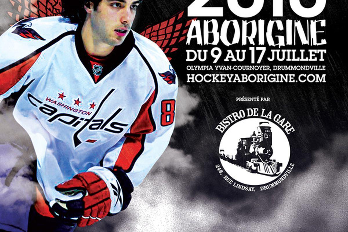 """Mathieu Perreault: Centerman, Honorary President, and Angel  (via <a href=""""http://hockeyaborigine.com/wp-content/uploads/2010/05/poster_2010.jpg"""">hockeyaborigine.com</a>)"""