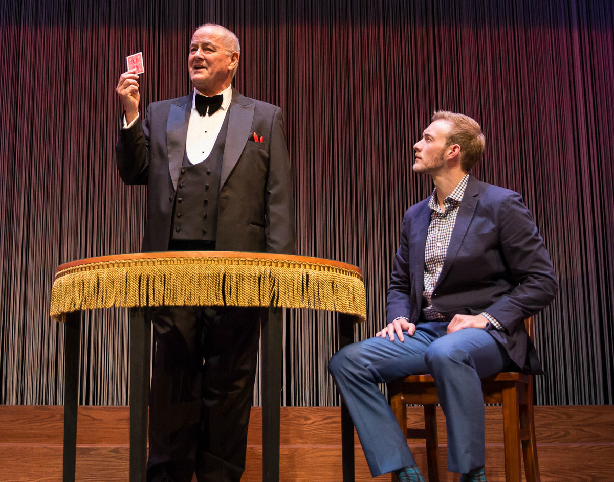 """Francis Guinan (left) plays The Father, and Brett Schneider is The Magician in """"The Magic Play,"""" at the Goodman Theatre. (Photo: Liz Lauren)"""