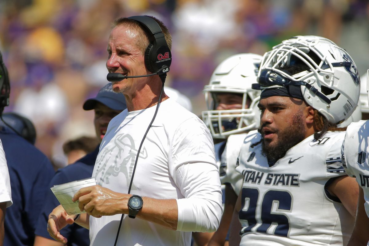 Utah State head coach Gary Andersen looks on during the first half against LSU at Tiger Stadium.