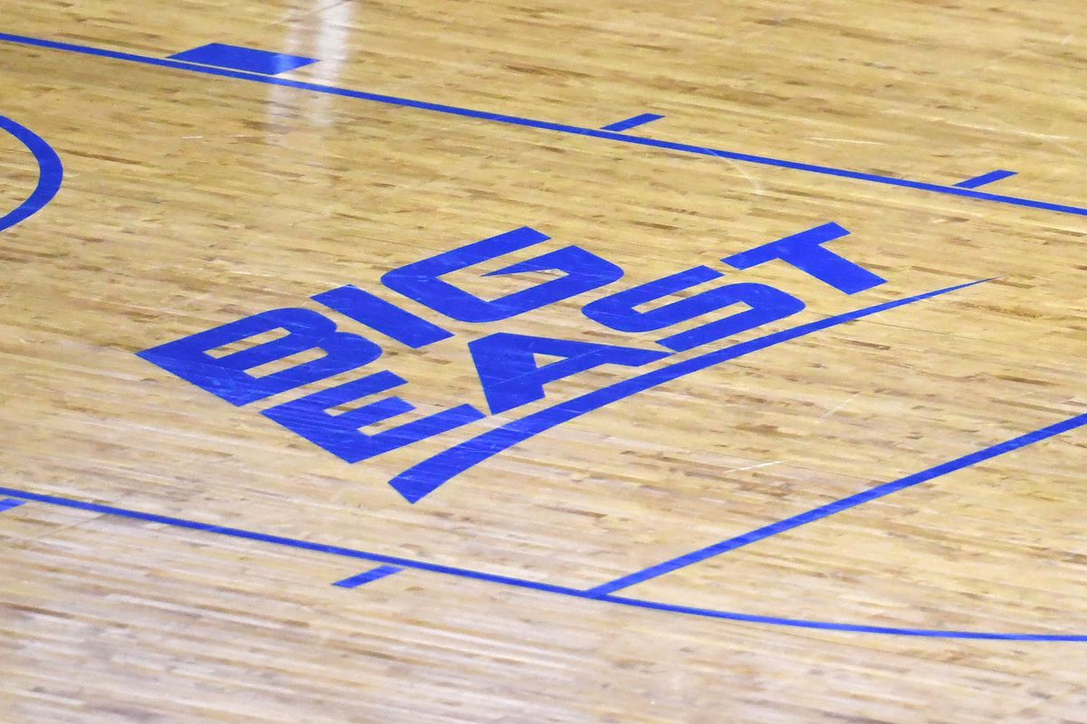 The Big East logo on the floor during a college basketball game between the Seton Hall Pirates and the Connecticut Huskies at the Prudential Center on March 3, 2021 in Newark, New Jersey.