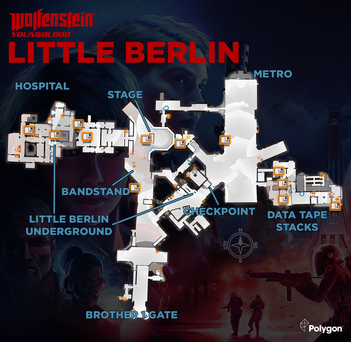 Wolfenstein: Youngblood Little Berlin map with Readable collectible locations