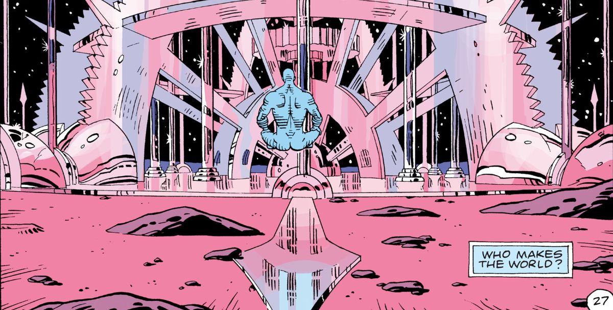 Doctor Manhattan builds his pink glass clockwork palace on Mars in Watchmen, DC Comics (1986).