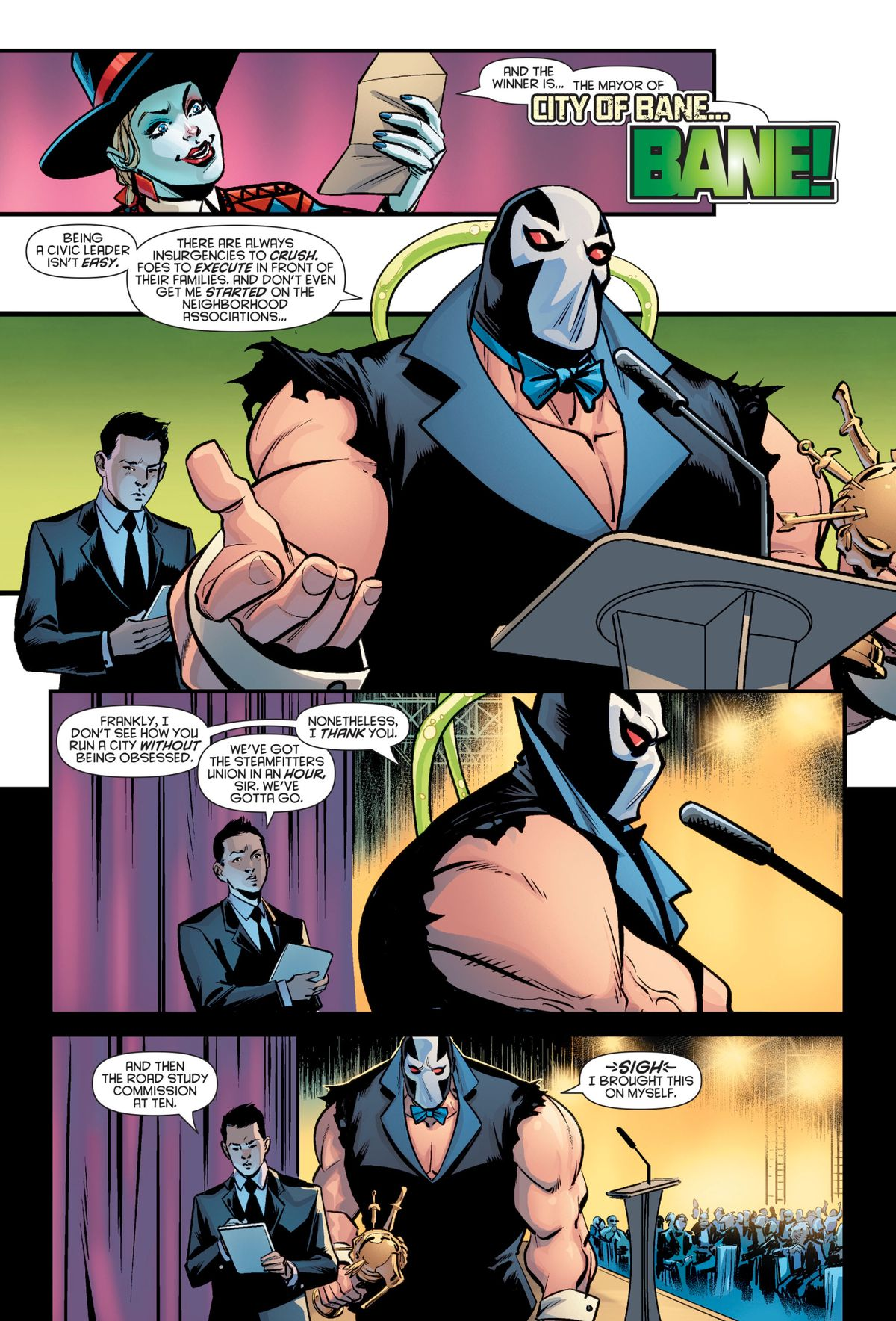Bane accepts the Obsession Award with a speech about the difficulties of being a civic leader, in a tux and bowtie with no shirt and the sleeves ripped off, in a big joke about the City of Bane arc in Batman comics, in Harley Quinn's Villain of the Year #1, DC Comics (2019).