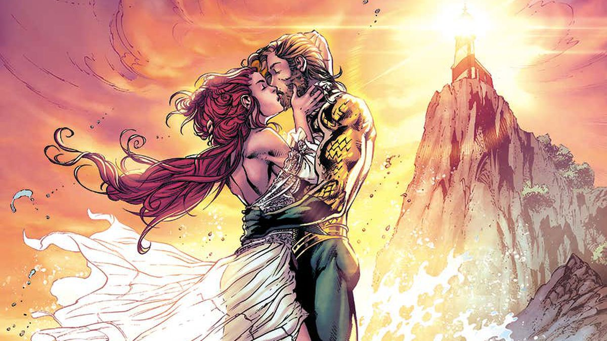 Aquaman and Mera kiss on a rowboat, surrounded by ocean spray, a glowing lighthouse behind them, on the cover of Aquaman #65, DC Comics (2020).