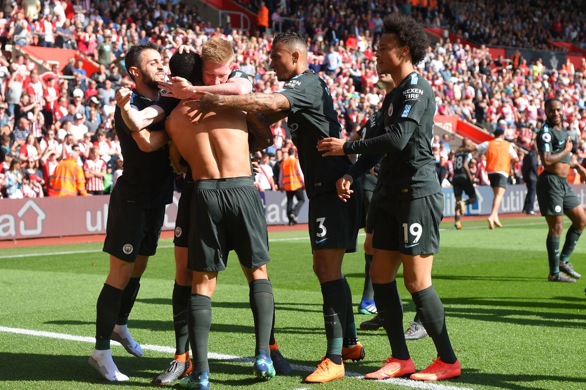 Image result for gabriel jesus de bruyne southampton 0-1 man city