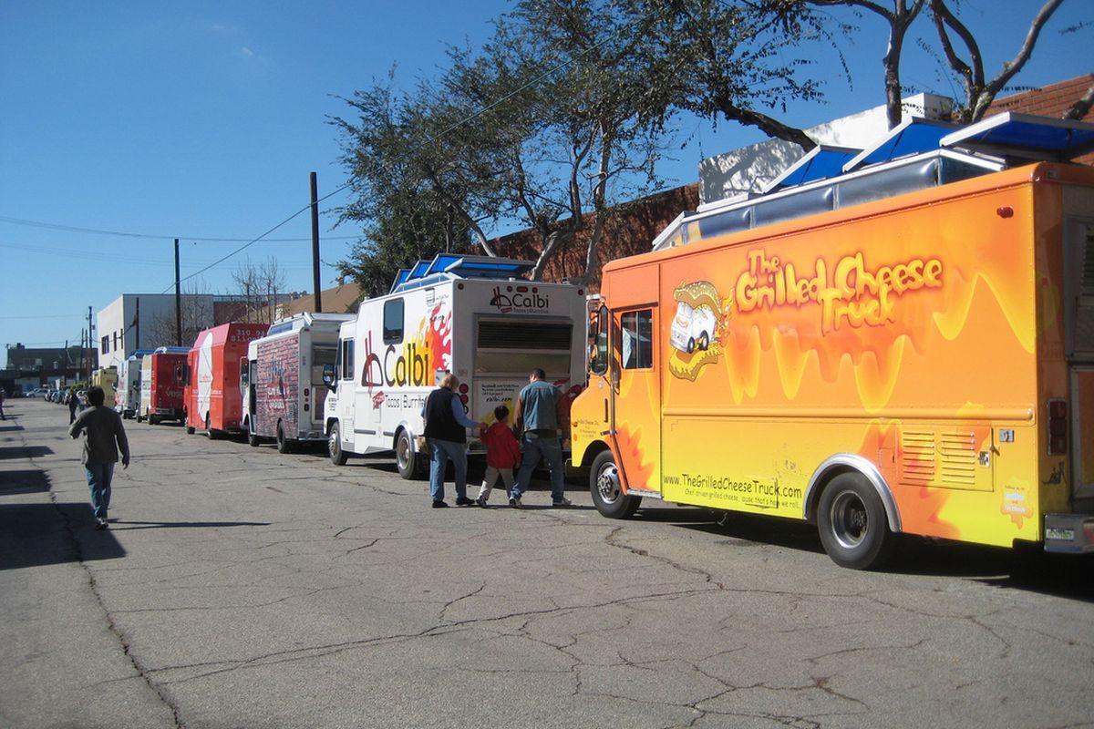 A lineup of food trucks