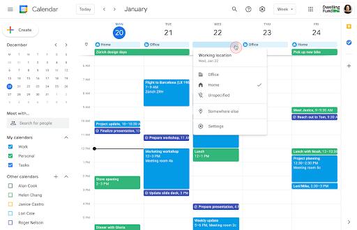 Working location in calendar
