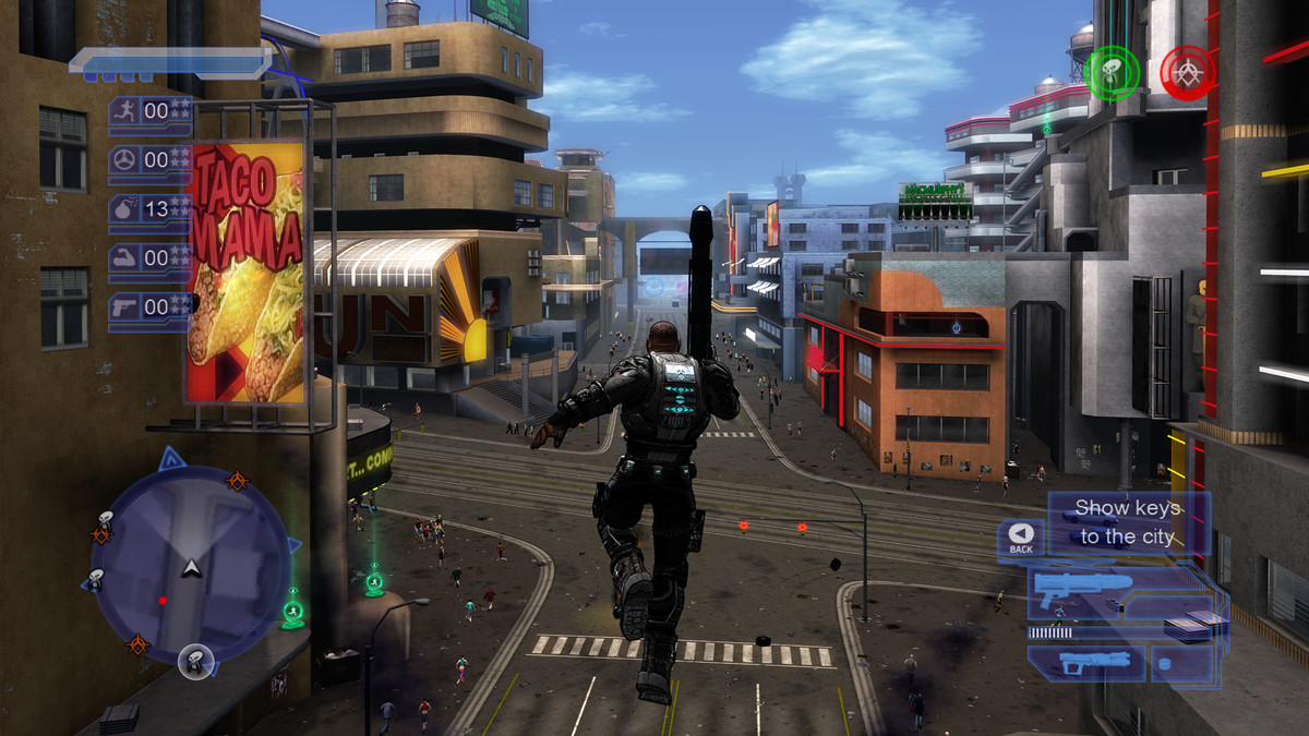 leaping along a street in Crackdown