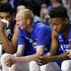 BYU guard TJ Haws, center, looks on during West Coast Conference championship game against the Gonzaga Bulldogs in Las Vegas on Tuesday, March 6, 2018.