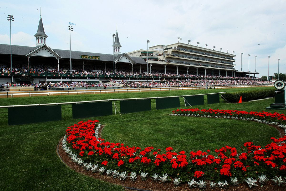 LOUISVILLE, KY - MAY 4th:  The Kentucky Derby winner's circle is seen during the 138th running of the Kentucky Oaks at Churchill Downs on May 4, 2012 in Louisville, Kentucky.  (Photo by Elsa/Getty Images)