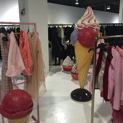 Near the women's changing area is pink desserts — ice cream and cupcakes line pink racks with specially-picked pink clothing.