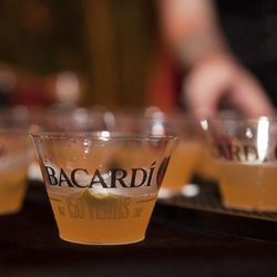 """Bacardi sponsored the """"150th Anniversary USBG Hand-Shaken Daiquiri Competition"""" held at The Chicory Friday night.  Twelve competitors used Bacardi rum to create their signature cocktail for the competition."""