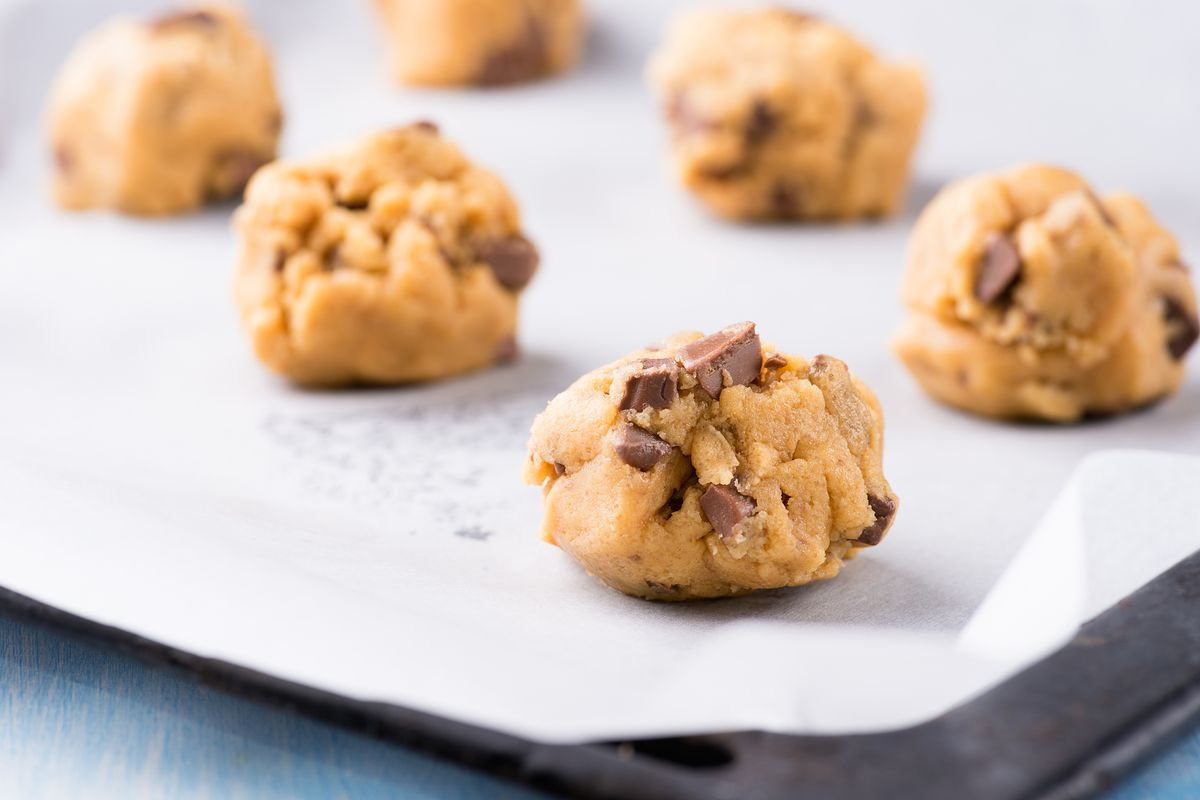 chocolate chip cookie dough on a sheet
