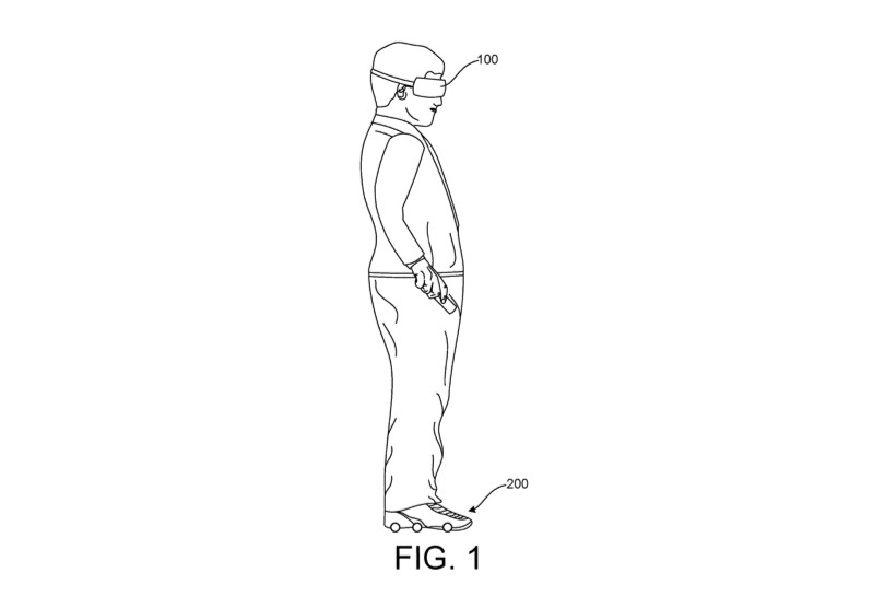 A patent illustration of a user wearing motorized shoes