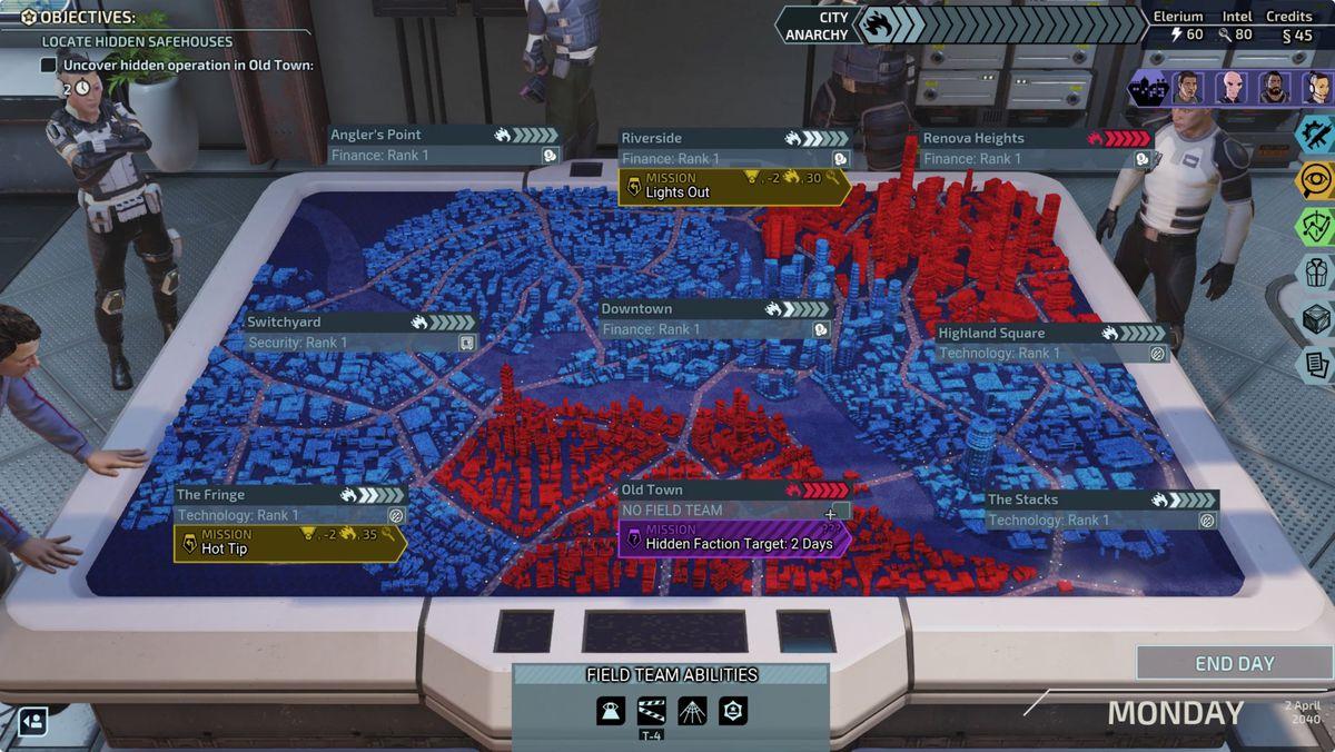 XCOM: مدينة خيميرا Squad City Map District Unrest City Anarchy