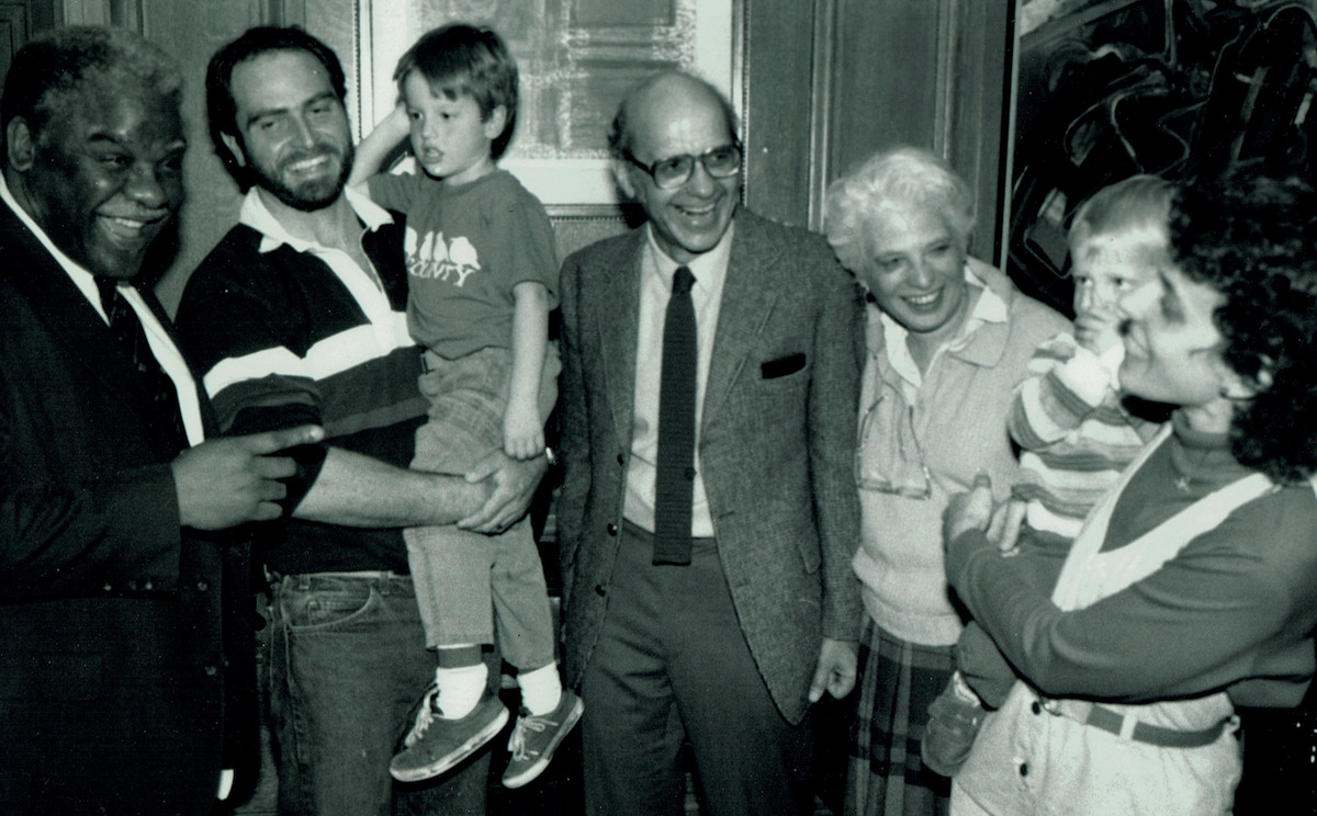 Hal Baron with Mayor Harold Washington (left); Mr. Baron's wife Paula next to her husband, and the Barons' daughter Marnie Saeugling and her husband Mike holding two of their children. | supplied photo