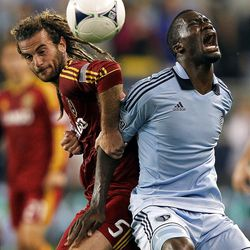KANSAS CITY, KS - APRIL 14:  Kyle Beckerman #5 of Real Salt Lake battles C.J. Sapong #17 of Sporting Kansas City as they compete for the ball during the Major League Soccer game on April 14, 2012 at Livestrong Sporting Park in Kansas City, Kansas.  (Photo by Jamie Squire/Getty Images)