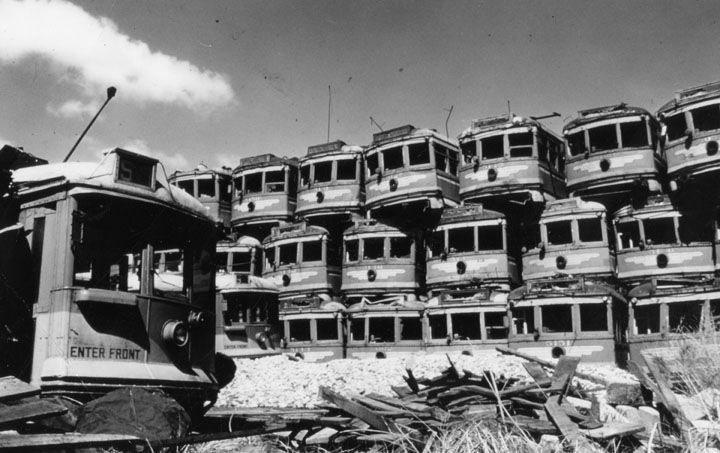 Graveyard&nbsp;of old piled up&nbsp;Pacific&nbsp;Electric&nbsp;cars in Wilmington.&nbsp;<br>