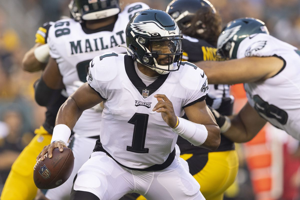 Jalen Hurts #1 of the Philadelphia Eagles looks to pass the ball against the Pittsburgh Steelers during the preseason game at Lincoln Financial Field on August 12, 2021 in Philadelphia, Pennsylvania.