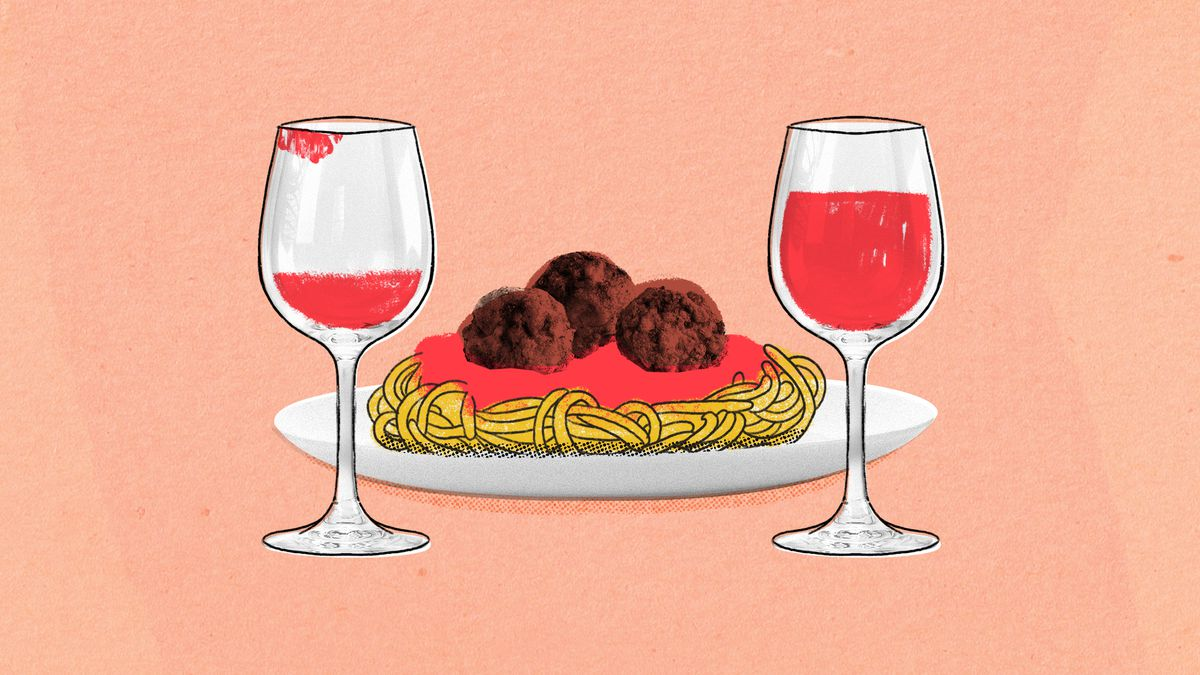 An illustration of a plate of spaghetti and meatballs with two wine glasses positioned on either side of the plate.