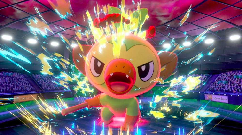 A Grookey in Pokemon Sword and Shield.