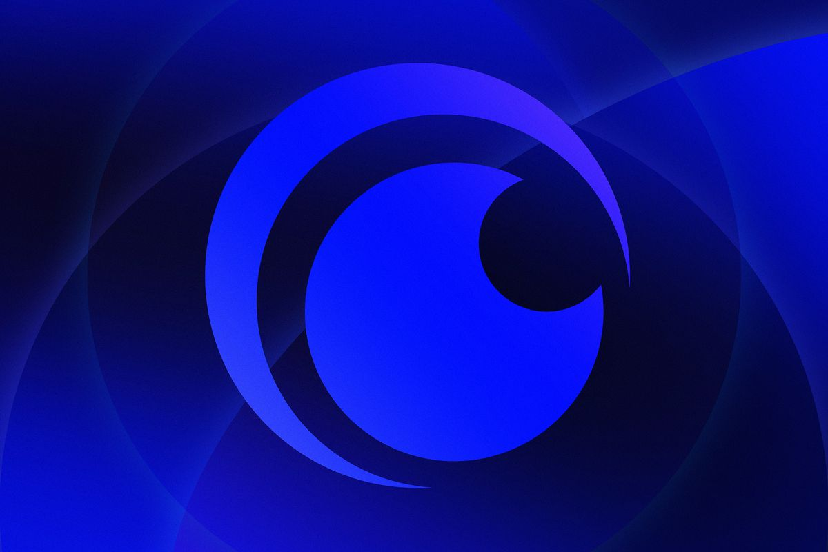 Graphic illustration with blue circular patterns and the Crunchyroll logo