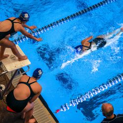 Grantsville High School races in the 400 yard freestyle relay at the 3A women's swimming state meet at the South Davis Recreation Center in Bountiful on Saturday, Feb. 13, 2021.