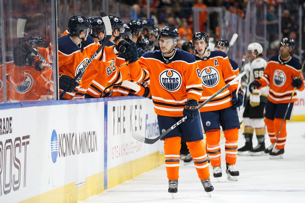 EDMONTON, AB - APRIL 05: Ty Rattie #8 of the Edmonton Oilers celebrates his goal against the Vegas Golden Knights at Rogers Place on April 5, 2018 in Edmonton, Canada.