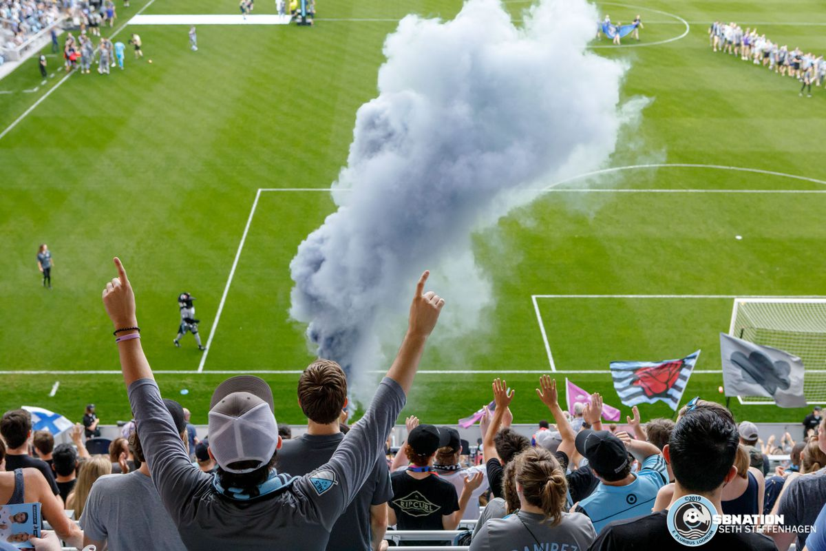 July 3, 2019 - Saint Paul, Minnesota, United States - Smoke billows in the Wonderwall as the start of the gam is about to begin between Minnesota United and San Jose Earthquakes match at Allianz Field.