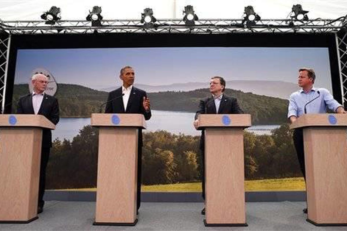 From right, Britain's Prime Minister David Cameron, European Commission President Jose Manuel Barroso, US President Barack Obama and European Council President Herman Van Rompuy participate in a media conference regarding EU-US trade at the G-8 summit in