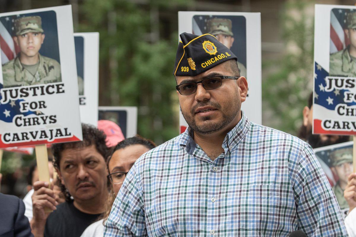 Chris Garibay, senior vice commander of American Legion Post 939, speaks during a protest on Aug. 13 demanding justice for murder victim Chrys Carvajal.