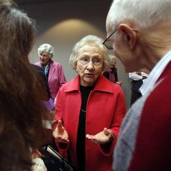 Aileen Clyde, former second counselor in the general Relief Society presidency of The Church of Jesus Christ of Latter-day Saints, talks after the Utah Citizens' Counsel announces its 2014 Assessment of Utah's Policy Progress in Salt Lake City, Wednesday, Dec. 10, 2014.
