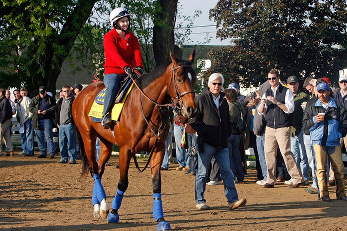 LOUISVILLE, KY - APRIL 28:  Bob Baffert the trainer of Lookin at Lucky walks beside the horse during the morning workouts for the Kentucky Derby at Churchill Downs on April 28, 2010 in Louisville, Kentucky.  (Photo by Andy Lyons/Getty Images)