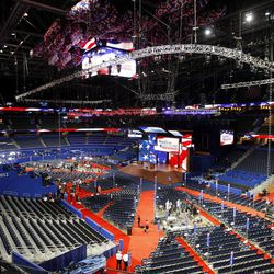 The Tampa Bay Times Forum, where the Republican National Convention will be held, is mostly empty Monday because of being postponed till Tuesday due to Hurricane Isaac.  Utah delegates used their extra time to put together humanitarian kits Monday morning.  They got help from delegates from Hawaii and Arizona.  Monday, Aug. 27, 2012