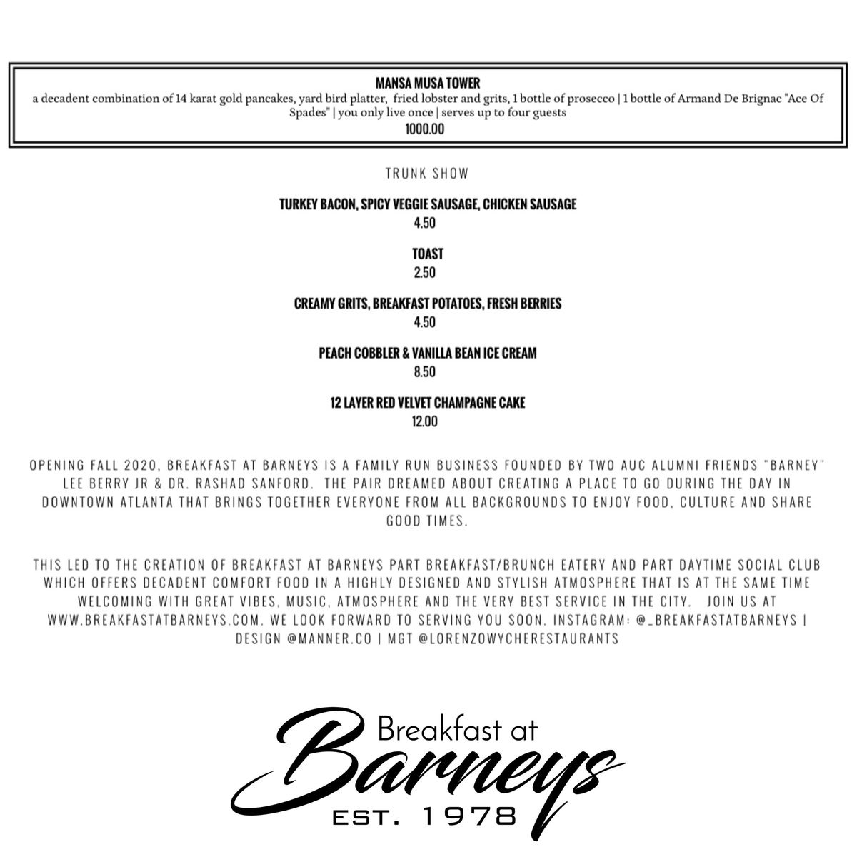 The menu for Breakfast at Barneys which includes an eye-popping $1,000 Mansa Musa Tower with lobster and grits, chicken and waffles, 1 bottle of prosecco, and 14 karat gold pancakes paired with a bottle of Ace of Spades Champagne