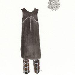 Daisuke Dress, $705; Paradaisu wool plaid pants, $530; Hanna wool hat, $205.