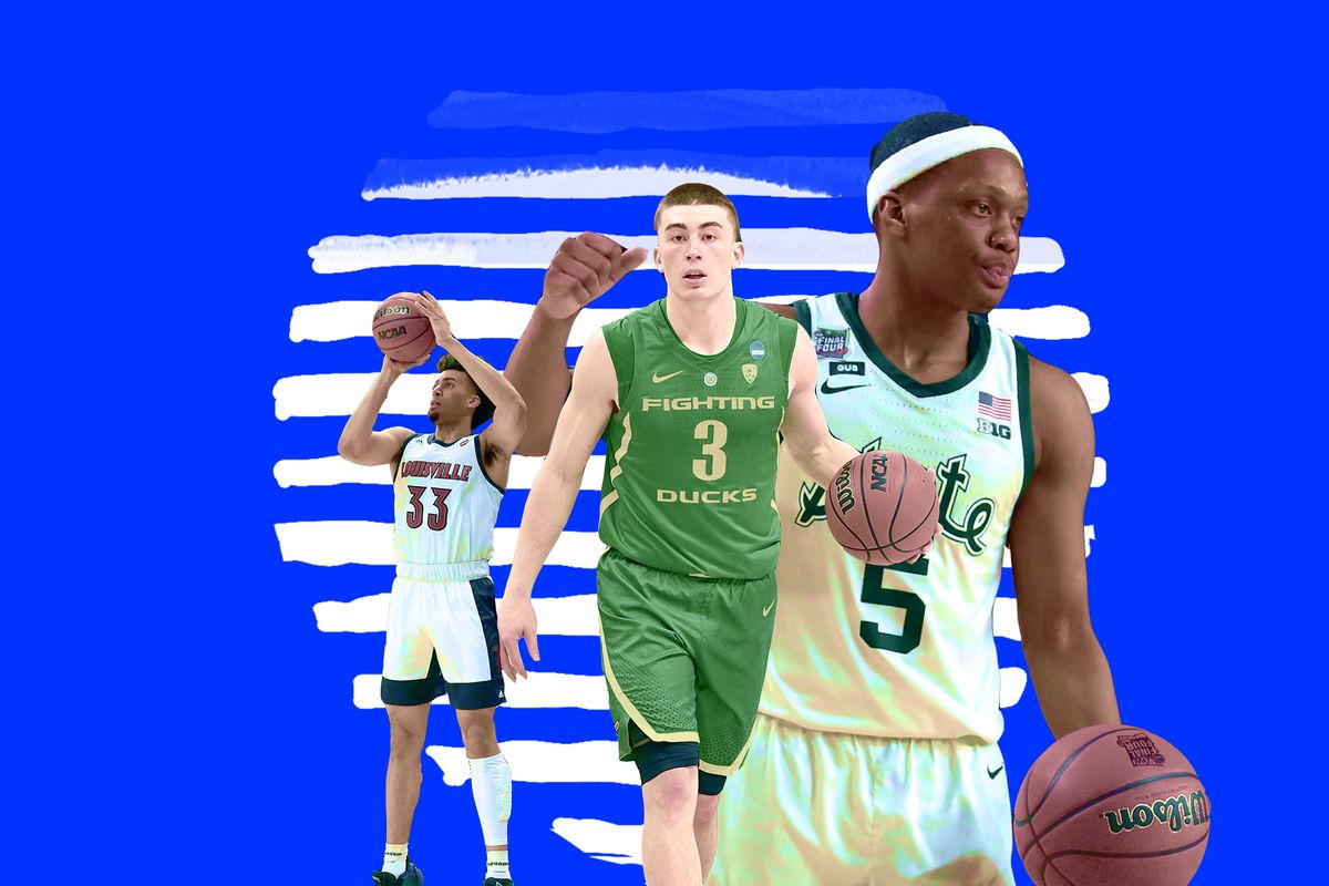 A collage of Louisville's Jordan Nwora (left), Oregon Payton Pritchard (center), and Michigan State's Cassius Winston.
