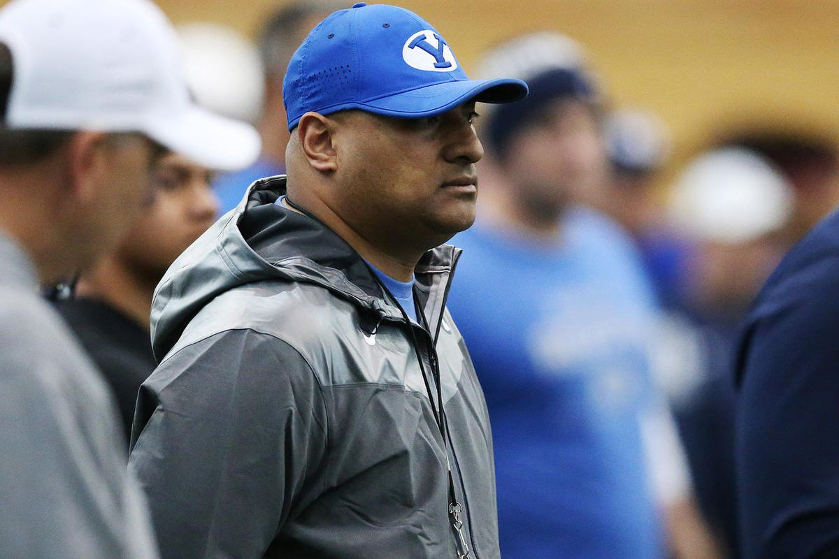 Brigham Young Cougars head coach Kalani Sitake watches during BYU football alumni day practice in Provo on Friday, March 31, 2017.