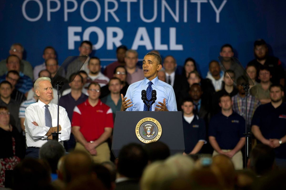 President Barack Obama and Vice President Joe Biden talk about job training at the Community College of Allegheny County.
