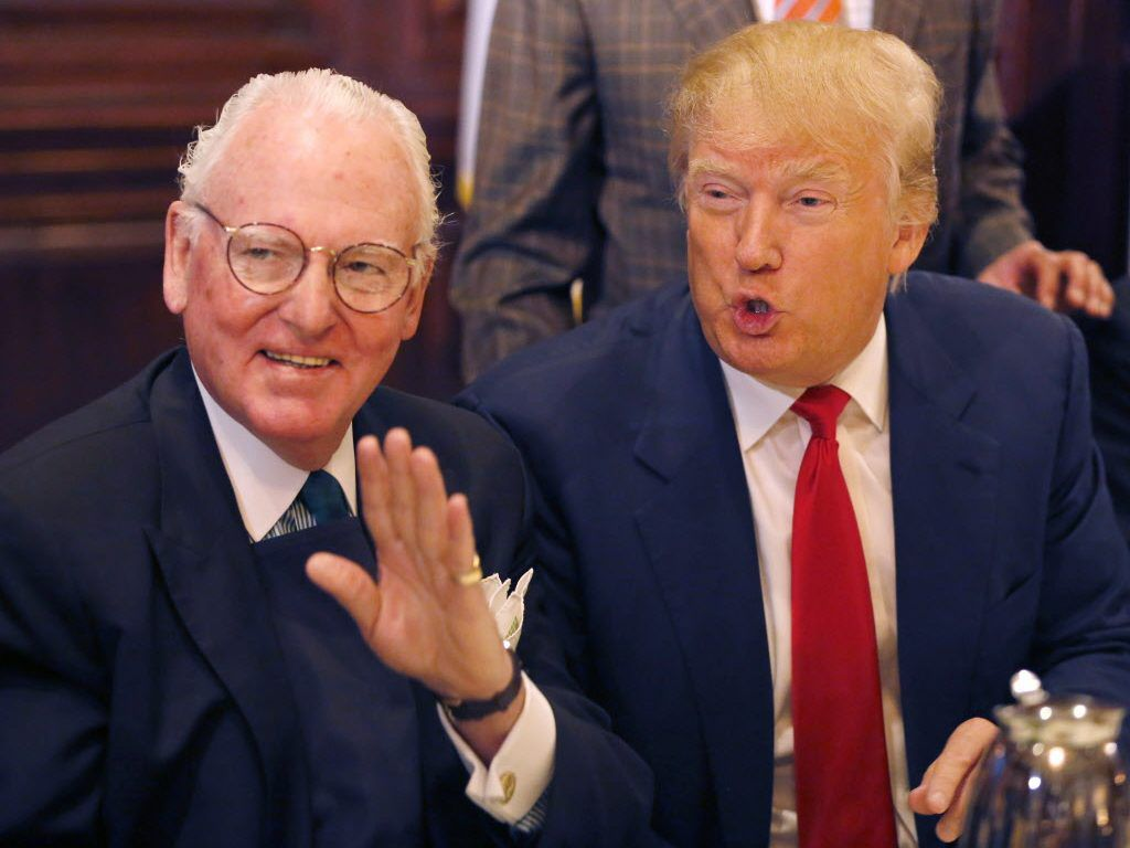 Ald. Edward Burke, left, with then-presidential candidate Donald Trump at the City Club of Chicago in 2015.   AP