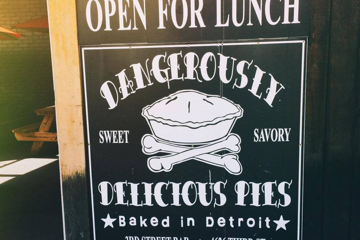The sign for Dangerously Delicious Pies in Detroit.