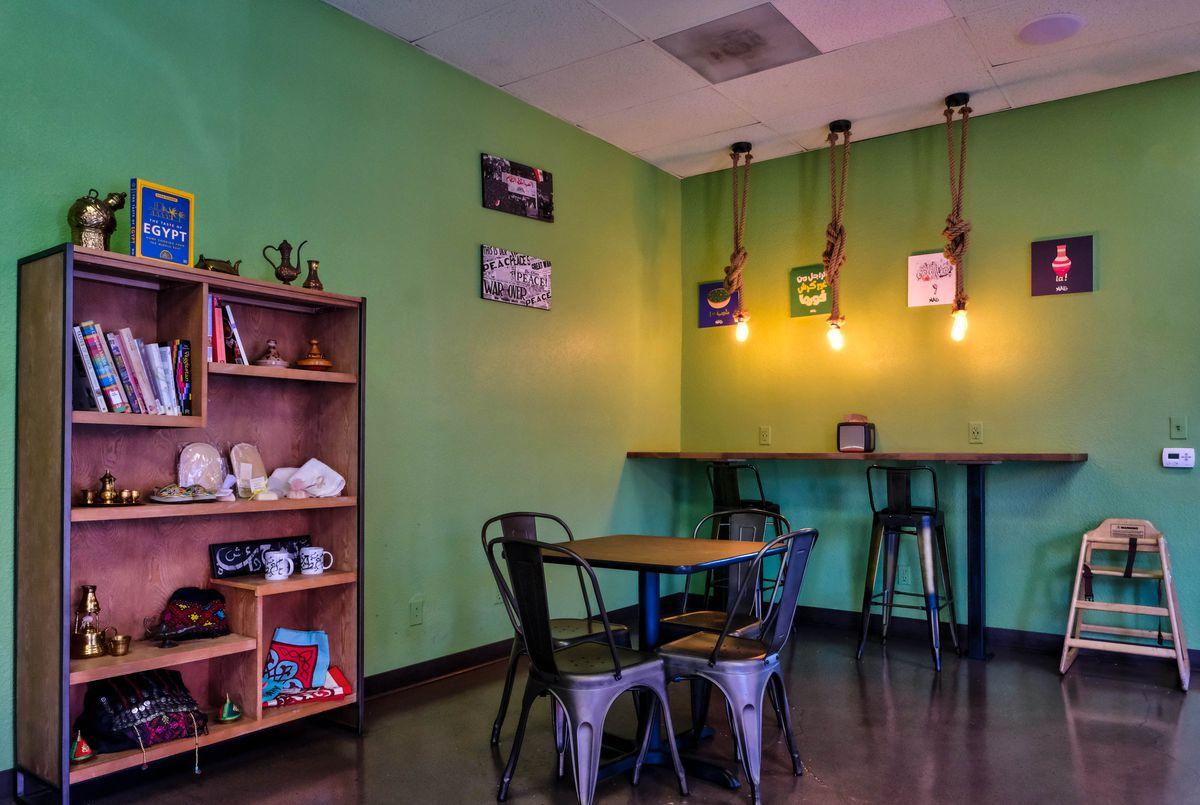The interior of a vegan Egyptian restaurant