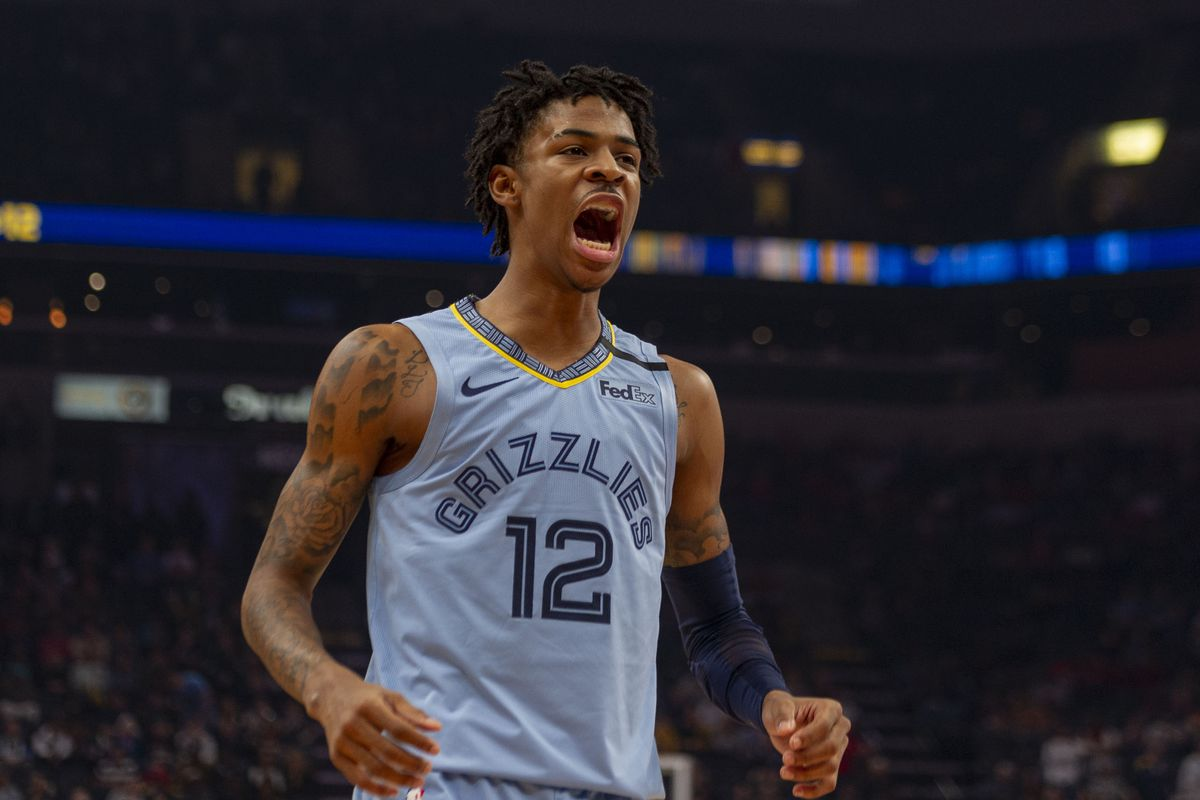 Memphis Grizzlies guard Ja Morant reacts against the Houston Rockets during the first half at FedExForum.