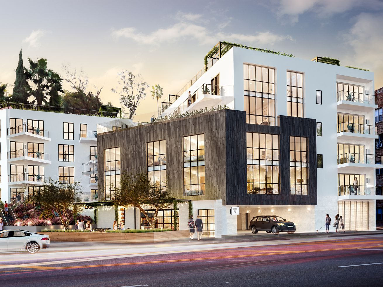A rendering of the under-construction project at Sunset Boulevard and Micheltorena Street.