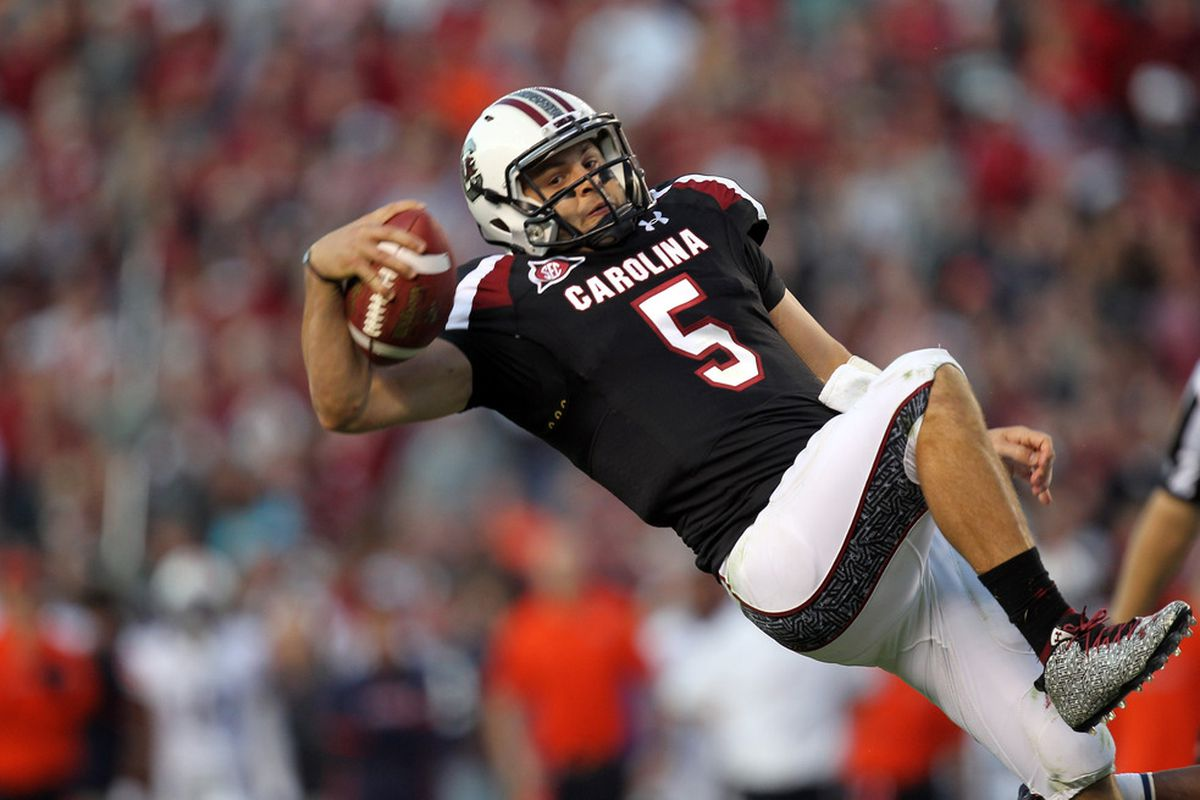 COLUMBIA, SC - OCTOBER 01:  Stephen Garcia #5 of the South Carolina Gamecocks is tackled during their game against the Auburn Tigers at Williams-Brice Stadium on October 1, 2011 in Columbia, South Carolina.  (Photo by Streeter Lecka/Getty Images)